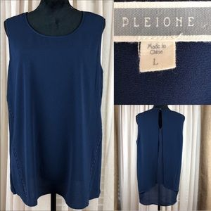 Pleione Navy Blue Blouse. Lace inserts on sides